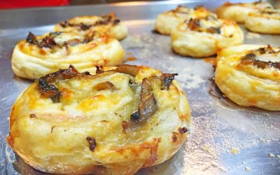 Puff Pastry Pinwheels with Ham, Muenster Cheese and Mushrooms