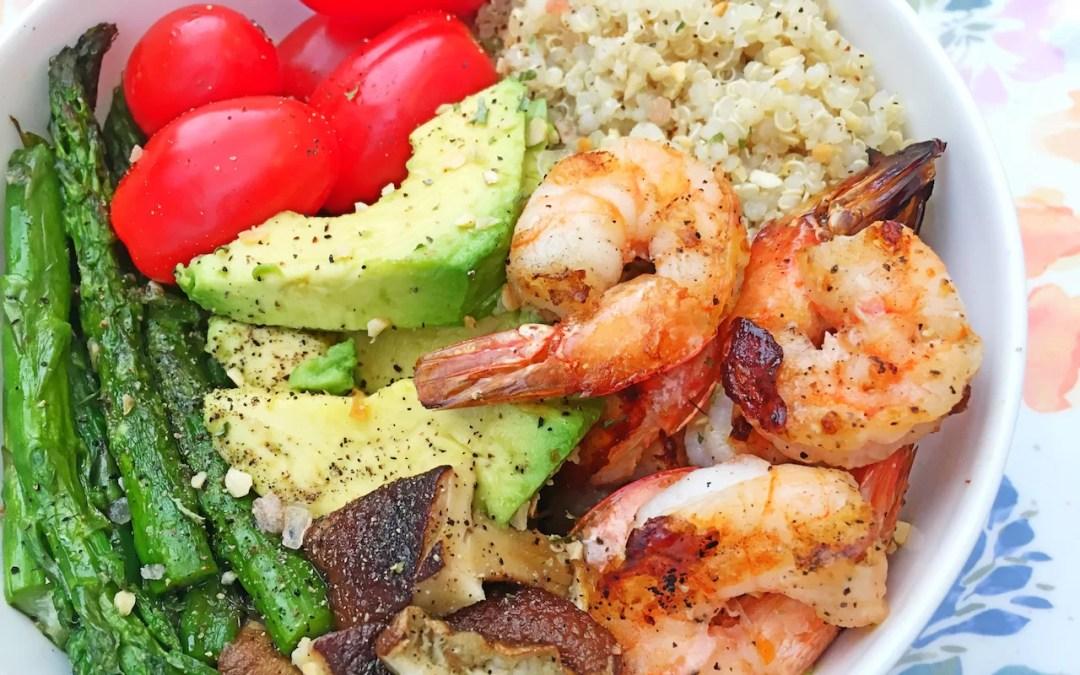 Grilled Shrimp Asparagus Quinoa Bowl