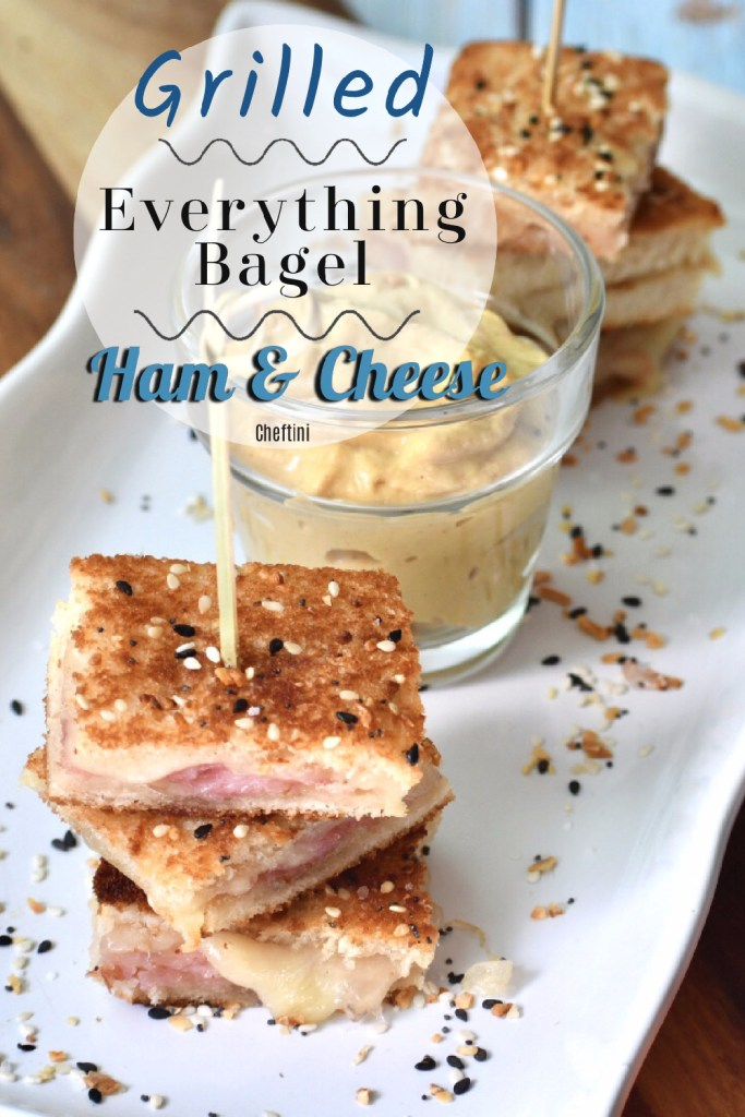 Everything Bagel Grilled Ham and Cheese Bites