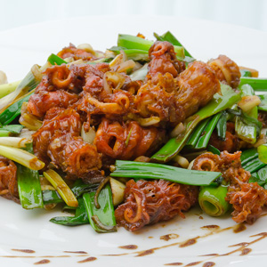 Stir-fried red sea cucumber meat w/ pepper & green scallion in XO sauce