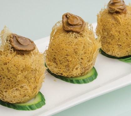 Deep-fried taro and abalone dumplings