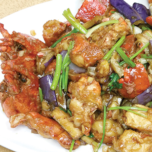 Stir-fried lobster with eggplant in homemade spicy sauce trimmed with spaghetti or E-fu noodles or noodles