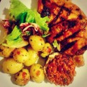 Peri Peri Chicken with Garnished Roast Potatoes