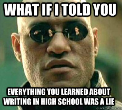 Meme about college writing.