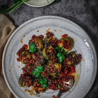 Chili Garlic Smashed Brussels Sprouts