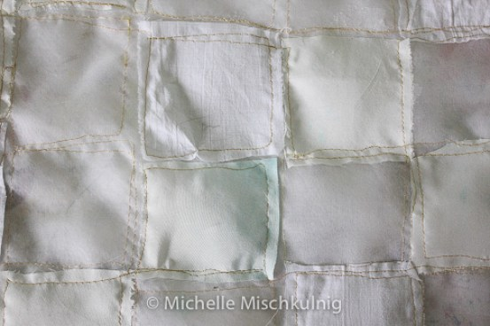 Step 1 preparing the fabric to paint.using silk, silk organza and cotton.
