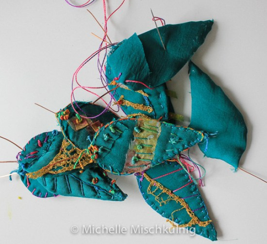 Hand stitching silk leaves