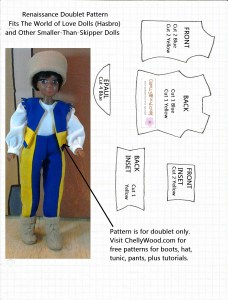 World of Love Doll Vest or Doublet Pattern