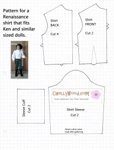 Pattern for Ken's Shirt free to download printable pattern for ken or barbie doll