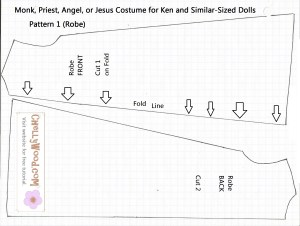 Pattern for Doll Robes for Biblical Characters like Moses, Jesus, Angels, Joseph and the Coat of Many Colors, Robe costume for Barbie or Ken doll pattern free to download and print