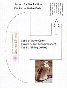 Monk's Hood Pattern Free to Download fits Ken or Barbie Dolls