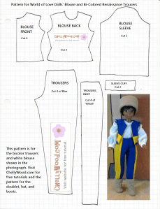 Blouse Pattern (Shirt Pattern) and Pants (Trousers) Pattern Printable Download for World of Love Dolls