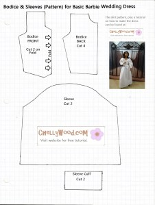Pattern for Easy-to-Make Barbie Wedding Dress