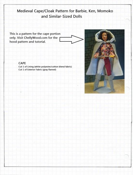 Medieval or Renaissance Cloak or Cape Pattern for Barbie, Ken, or Momoko Dolls