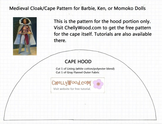 pattern for medieval cloak for Barbie dolls