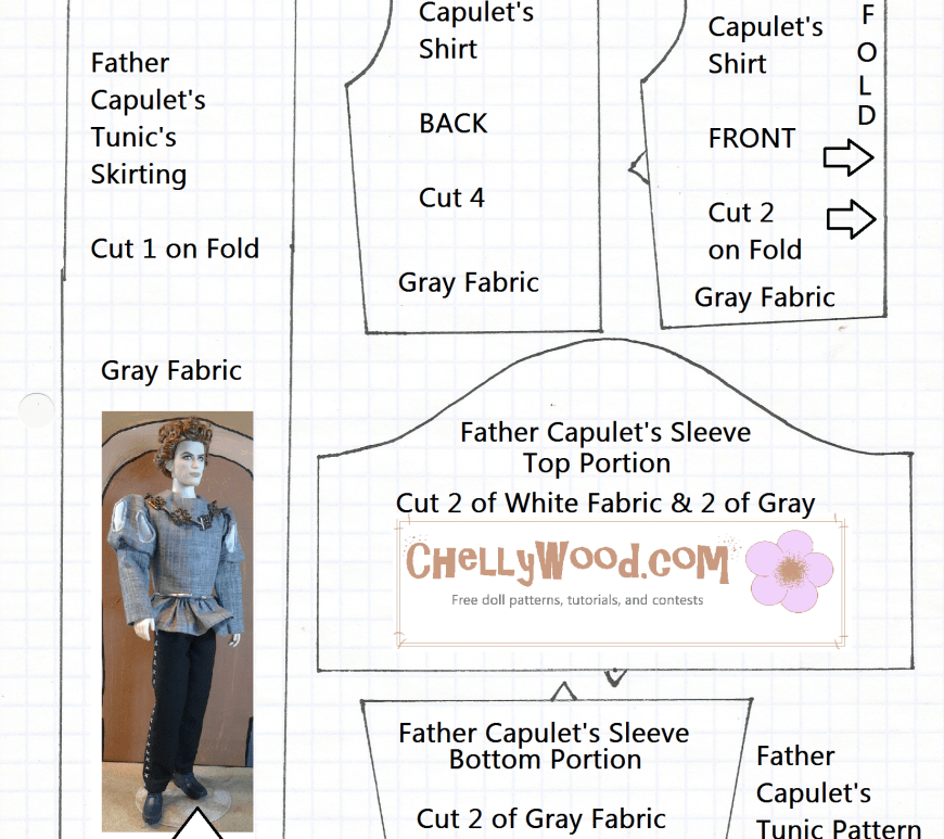 "Sewing Pattern for a Renaissance Tunic to fit Twilight Barbie Doll ""Jasper"""