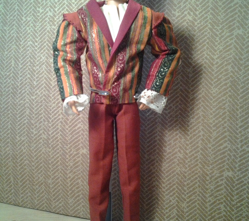 Image of Ken doll wearing home-sewn prince's jacket and trousers (patterns and tutorials available at ChellyWood.com)