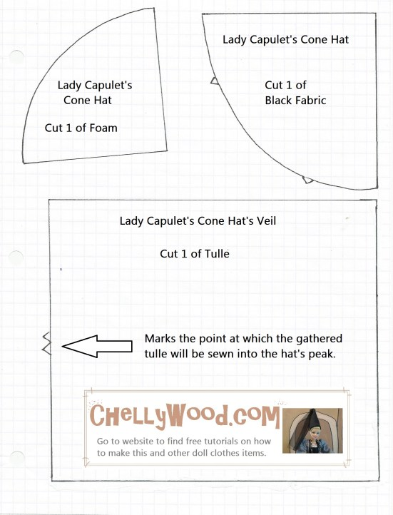 Sewing pattern for a cone-shaped princess hat for Barbie dolls