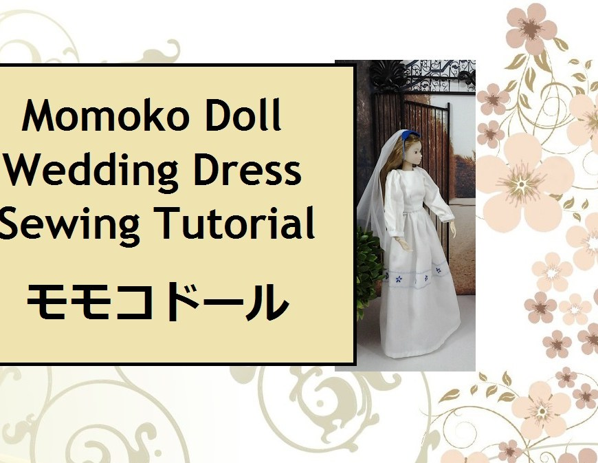 "Image of Momoko doll wearing a wedding dress with words ""Momoko doll Wedding Dress"" and Japanese translation of ""Momoko Doll"""