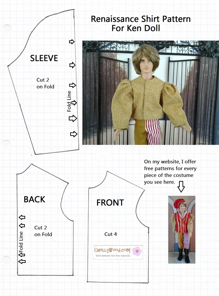 Image of Ken doll wearing renaissance clothing and various shirt pattern pieces