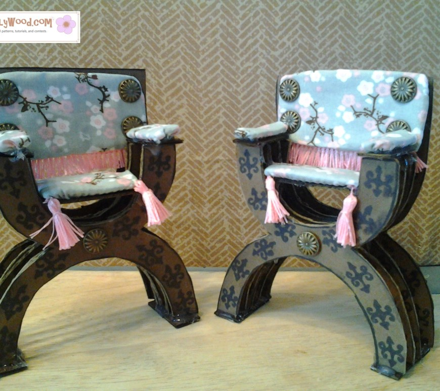 Image of two Renaissance-style 1/6 scale chairs made of recycled cardboard.