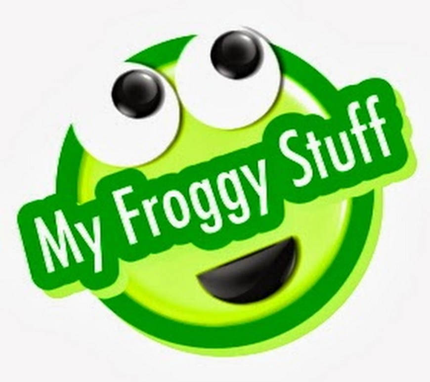"Image of green face with large eyes and overlaid words say ""My Froggy Stuff"""