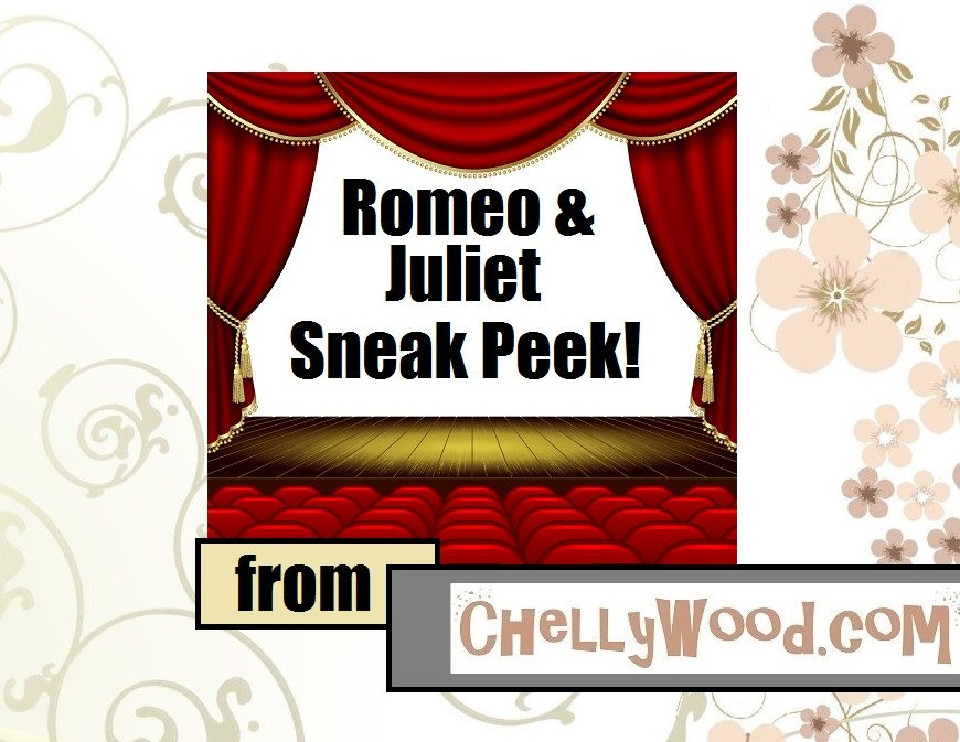 "Image of theater with curtains opening to the words ""Romeo and Juliet Sneak Peek!"""