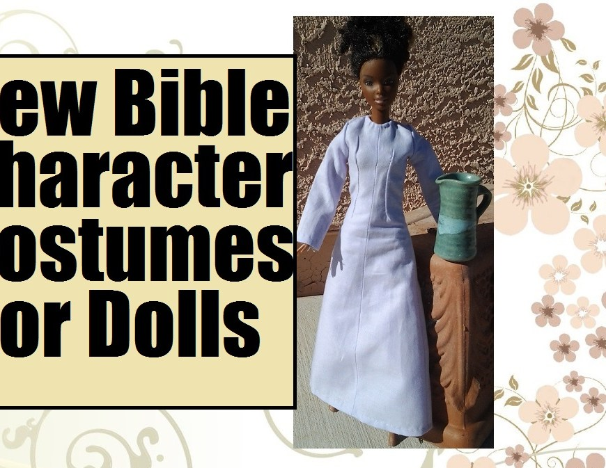 "Image of African Barbie wearing a traditional Lebanese dress with overlaying words ""Sew Bible Character Costumes for Dolls"""