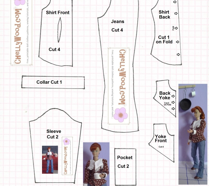 Image of sewing pattern to fit 8-inch dolls like Breyer dolls, World of Love dolls, dollhouse dolls, etc...