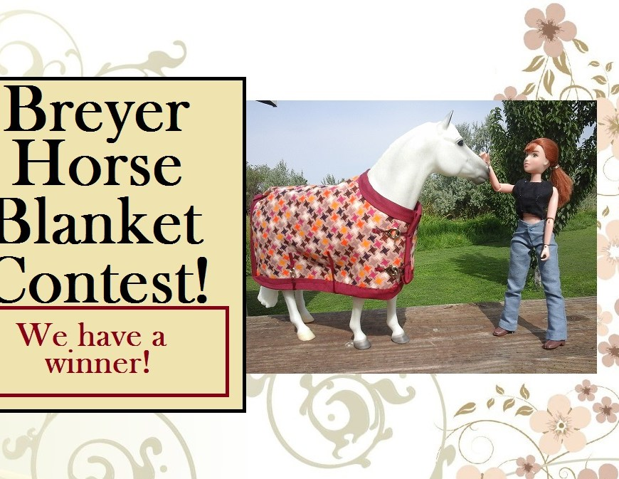 "Image of model horse (Breyer Horse ""Snowman"") wearing handmade horse blanket and standing near Breyer doll 8"" eight inch doll in handmade jeans and shirt with overlay of words ""Breyer Horse Blanket Contest"""