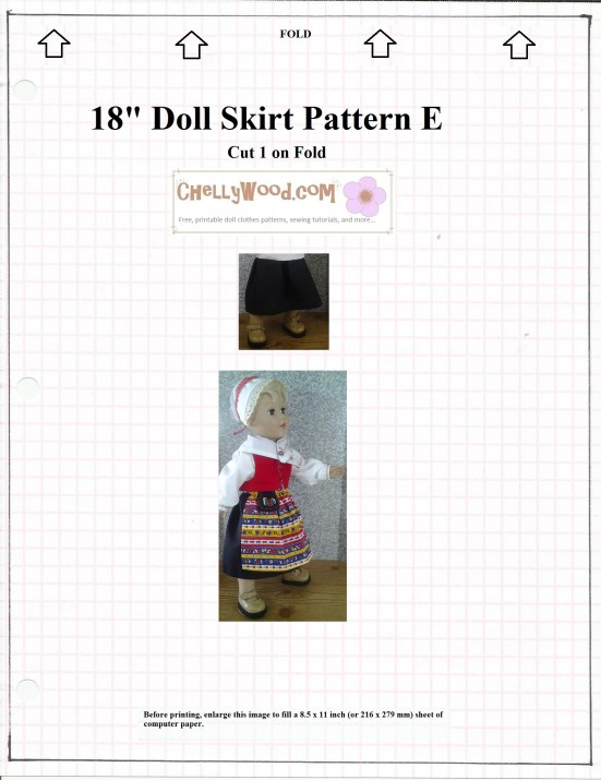 Image of skirt pattern (free and easy to print), plus image of 18 inch doll wearing skirt.