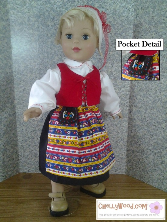 "Image of 18-inch doll wearing traditional Swedish folk costume with enlarged detail of an embroidered ""Pocket"" purse."