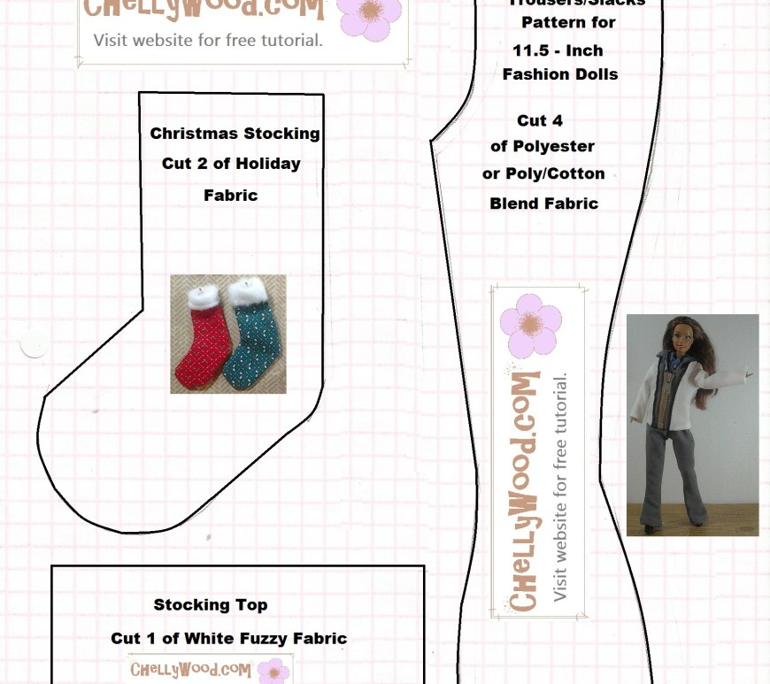 Image of sewing pattern for Barbie-sized pants and miniature Christmas stocking.