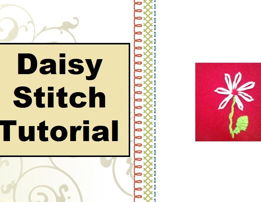 Click on the link above for the tutorial video page. This image shows a lazy daisy embroidery project on a red felt background with a stem and leaf. The tutorial video is found at ChellyWood.com