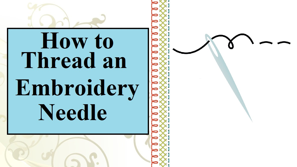 """Click on the link above for the tutorial video. This image shows a needle with embroidery floss """"dancing"""" through the eye of the needle easily. The overlay says, """"How to Thread an Embroidery Needle"""" and the tutorial video is found at ChellyWood.com"""