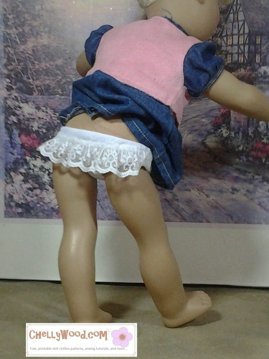 Image of 18-inch doll wearing lace-bottom underpants or knickers.