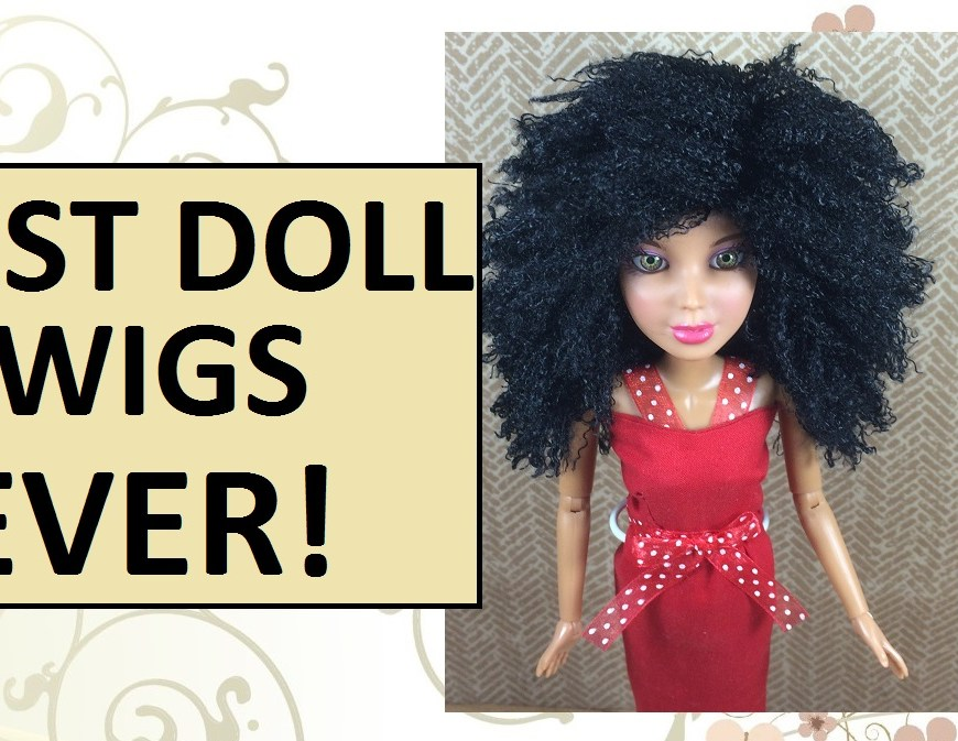 "Image of Spin Master Liv Doll wearing custom-made African American doll wig with overlay that says ""best doll wigs ever!"""