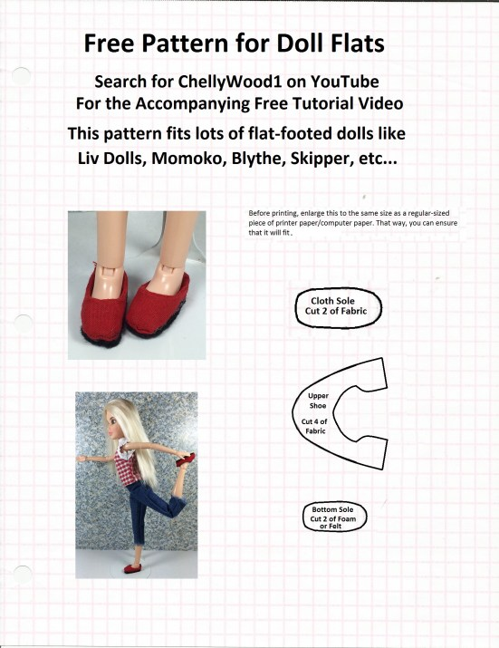 """Image of sewing pattern with overlapping words, """"Free pattern for doll flats: search ChellyWood1 on Youtube for the accompanying free tutorial video; this pattern fits lots of flat-footed dolls like Liv Dolls, Momoko, Blythe, skipper, etc..."""""""