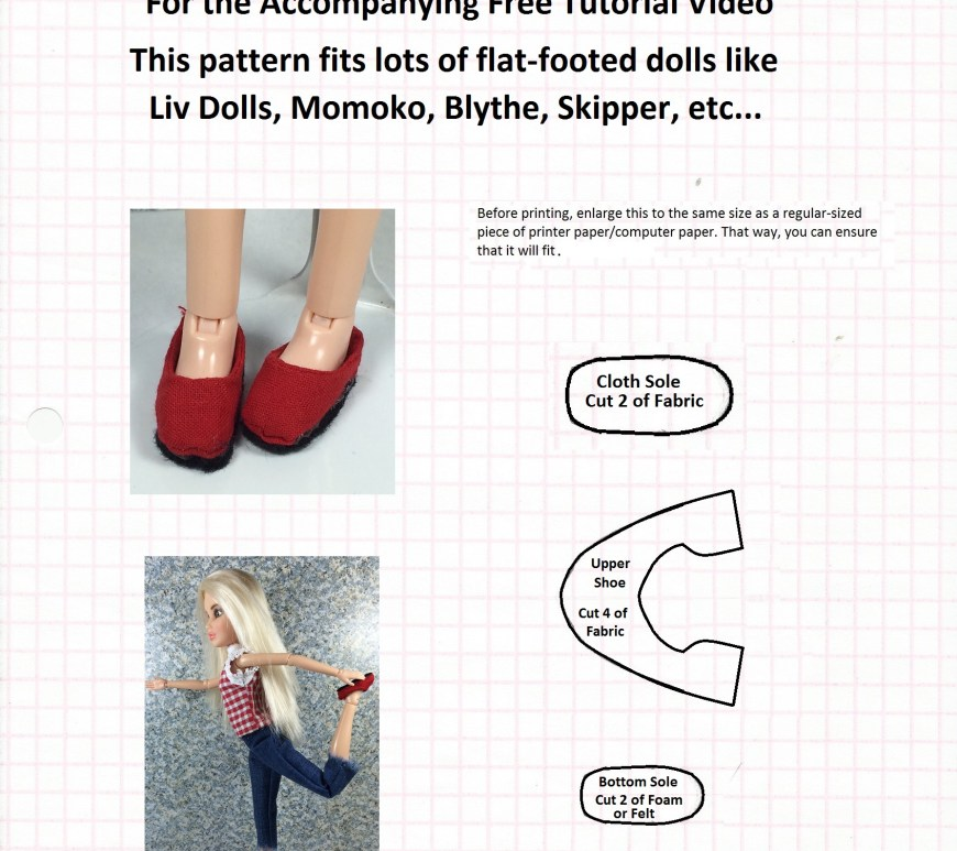 "Image of sewing pattern with overlapping words, ""Free pattern for doll flats: search ChellyWood1 on Youtube for the accompanying free tutorial video; this pattern fits lots of flat-footed dolls like Liv Dolls, Momoko, Blythe, skipper, etc..."""