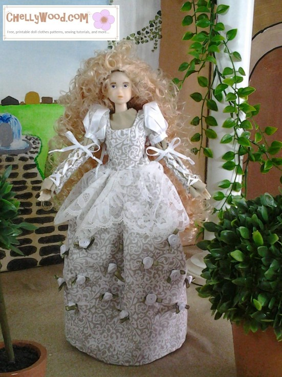 "Image of Momoko Doll in hand-made wedding gown. Watermark says ""ChellyWood.com""."