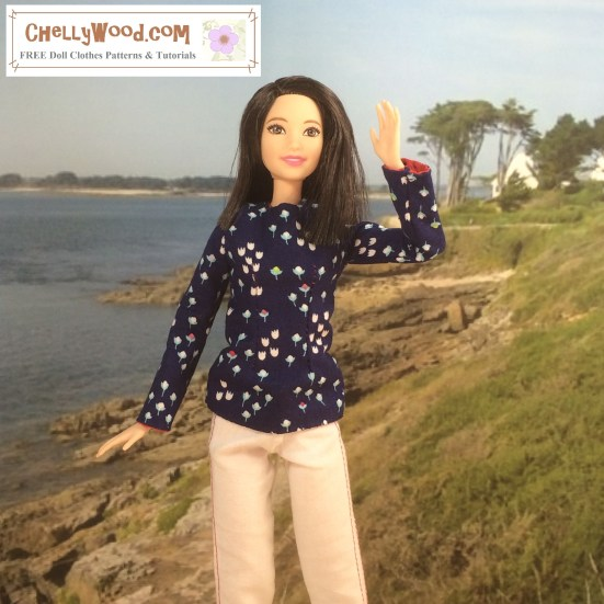"Image of Mattel's Tall Barbie (trademark) waving to the camera from a beach at Normandy. She wears a hand-made pair of white denim trousers and a long-sleeved floral top. Overlay says, ""ChellyWood.com: Free sewing patterns and tutorials."""