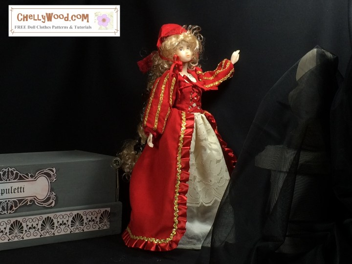 """Image of Momoko doll standing in a dark room (like a tomb) wearing a red gown and bonnet. Behind her is a rectangular dias; before her is the statue of a bust obscured by black tulle. The gown is an elegant red with gold trim and lace under-skirting. Overlay says, """"Chelly Wood Dot Com offers free, printable sewing patterns for dolls of many shapes and sizes. Free tutorials too!"""""""