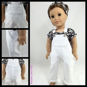 "Image of 18"" doll wearing handmade overalls with daisy-patterned short-sleeve shirt and hair bandana to match daisy-print shirt. Overlay says ""qtpipatterns.com"" (pronounced cutie pie patterns dot com)"