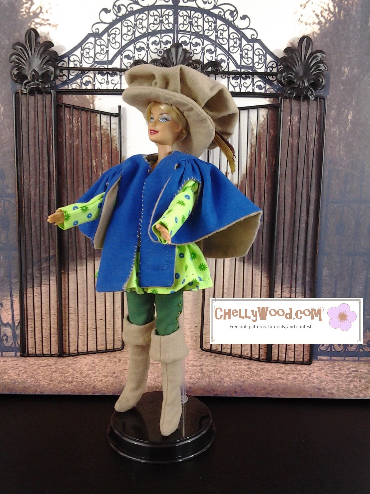 A Mattel Barbie doll models a Three Musketeers costume, including a hat with a feather in it, a jacket, a tunic, trousers, and thigh-high boots (with a cuff folding them down to knee length).
