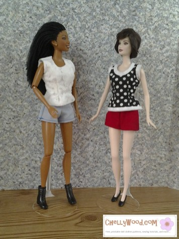 ChellyWood.com = free printable sewing patterns for dolls of many shapes and sizes. This image shows two fashion dolls wearing hand-made shorts and sleeveless, tank-top-style shirts.
