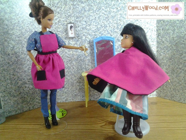 Here we see a Mattel Barbie doll wearing a handmade apron and a Spin Master Liv doll seated in a hairdresser's salon chair and wearing a hairdresser's smock. Behind the two dolls is a mirror on a vanity table, like one might see in a hair salon. If you'd like the free printable PDF sewing patterns for making this hairdresser's apron and hairdresser's smock, please click on the link in the caption.