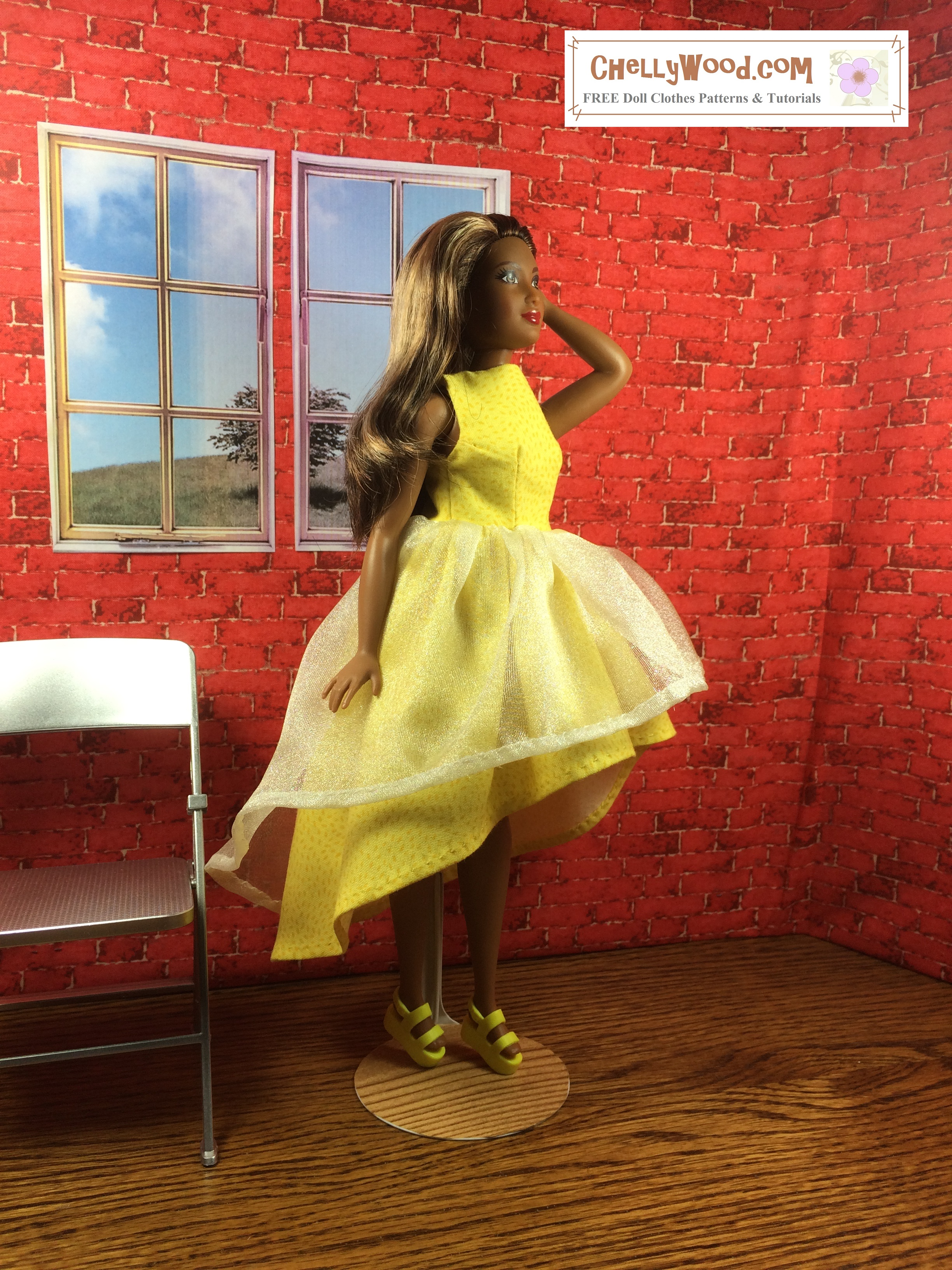 """Image of African American Fashionista Curvy Barbie from Mattel, posing in a yellow dress with a high-low skirt overlapped in filmy tulle. She poses with one hand in her hair and the other against the skirt's folds. Overlay says, """"ChellyWood.com: Free printable sewing patterns and tutorials."""" High Low Dress for Curvy Barbie with FREE Printable Sewing Pattern free printable sewing patterns to fit fashionista curvy Barbie free printable sewing patterns to fit ideal's Tammy doll tutorial for making sewing clothes for curvy barbies free printable sewing patterns lammily doll clothes fashionista curvy barbie can lammily and curvy barbies wear the same doll clothes sizes ? how to make doll clothes for curvy barbie dolls Image of African American Fashionista Curvy Barbie from Mattel, posing in a yellow dress with a high-low skirt overlapped in filmy tulle. She poses with one hand in her hair and the other against the skirt's folds. Overlay says, """"ChellyWood.com: Free printable sewing patterns and tutorials."""" High Low Dress for Curvy Barbie with FREE Printable Sewing Pattern free printable sewing patterns to fit fashionista curvy Barbie free printable sewing patterns to fit ideal's Tammy doll tutorial for making sewing clothes for curvy barbies free printable sewing patterns lammily doll clothes fashionista curvy barbie can lammily and curvy barbies wear the same doll clothes sizes ? how to make doll clothes for curvy barbie dolls Image of African American Fashionista Curvy Barbie from Mattel, posing in a yellow dress with a high-low skirt overlapped in filmy tulle. She poses with one hand in her hair and the other against the skirt's folds. Overlay says, """"ChellyWood.com: Free printable sewing patterns and tutorials."""" High Low Dress for Curvy Barbie with FREE Printable Sewing Pattern free printable sewing patterns to fit fashionista curvy Barbie free printable sewing patterns to fit ideal's Tammy doll tutorial for making sewing clothes for curvy barbies free printable sewing"""