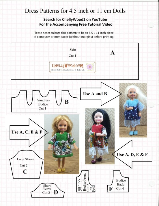 Image shows a printable sewing pattern with photographs of three of the Mattel Chelsea (trademark) dolls wearing hand-made dresses. One is a folk dress. One is a colorful school dress with modern-art decorations on the skirt. The other is a sky-blue dress with a floral skirt. All are simple to make. Overlay reads: Chelly Wood dot com for free printable sewing patterns and tutorials.