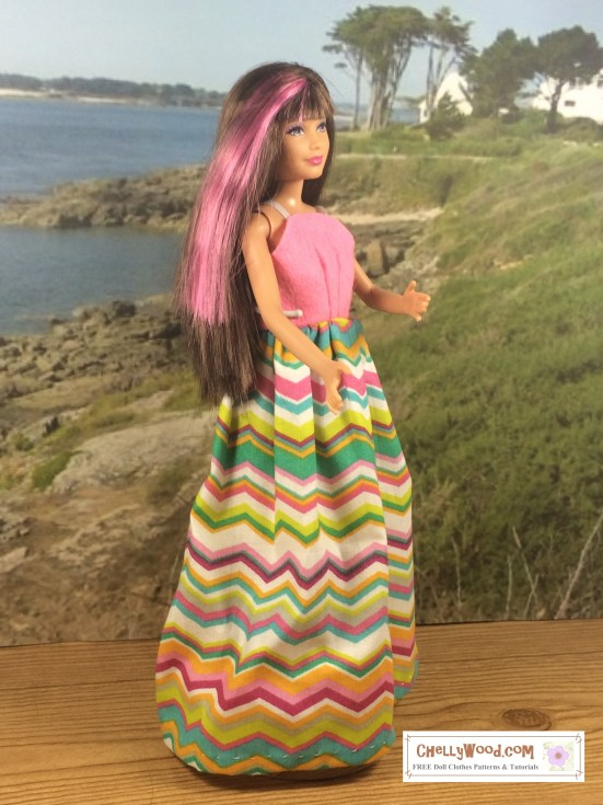 Long Sundress Skipper free printable doll clothes patterns for Mattel's Skipper, Barbie's little sister