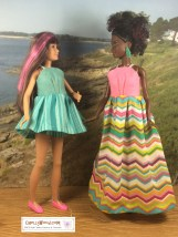 Please note: the links to free patterns are found in the caption. This is an image of Petite Barbie wearing the long version of a sun dress and Skipper wearing the short version of the same sun dress. This pattern set is for a beginner who is just learning to sew, and it's an ideal sewing project for children learning to sew their very first doll clothes. Visit ChellyWood.com to learn more about sewing basics as they related to making doll clothes for dolls of many shapes and all different sizes.